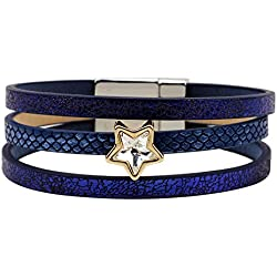 Winter's Secret Crystal Five Star Studded Pattern 3 Row Unisex Blue Leather the Magnet Clasp Cuff Bracelet