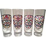 Hand Painted One of a Kind Sugar Skull Shot Glass Set of 4