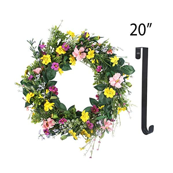 GameXcel Door Wreath for Fall – 20In Daisy Summer Front Door Wreath Artificial Floral Wreaths with 15Inch Black Wreaths Hanger Natural Flower Wreath Home Decor for Window,Outdoor, Wedding Holidays
