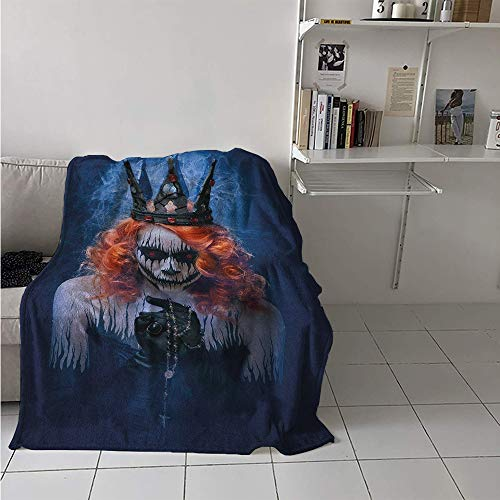 Digital Printing Blanket, Queen of Death Scary Body Art Halloween Evil Face Bizarre Make Up Zombie, Print Image Thicken Blanket 62x60 Inch Navy Blue Orange Black]()
