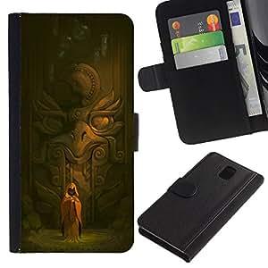 Be-Star la tarjeta de Crédito Slots PU Funda de cuero Monedero caso cubierta de piel Para Samsung Galaxy Note 3 III ( Ancient Temple Monk Eagle Statue Spiritual )