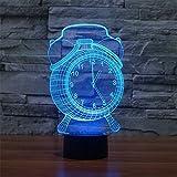Patrón de reloj de alarma con luz nocturna que cambia de color mágico 7 colores que cambian Lámpara de ilusión óptica 3D Interruptor táctil Escritorio de dormitorio Luz de noche LED visual Regalos for