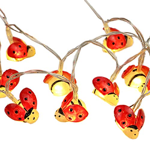 Ladybugs Fairy String Lights, 20 Red LEDs 6.6ft Copper Wire Battery Powered Best Decoration Lights For Party,Wedding,Bedroom,Library,Study,Room,Home Decoration.(Warm White) (Lights Ladybug)