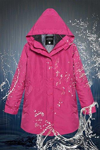 vent Blouson Outwear Femme Pour A Hiver Automne Manteau Coupe Rose Rouge Capuche Veste Cravog Imperméable Parka qTf1Epww