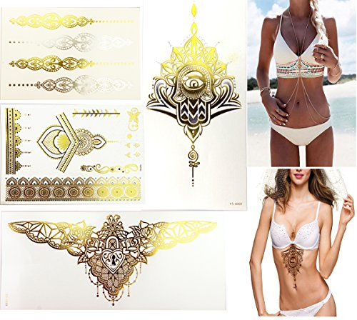Gold Body Chian amp Glitter Gold Metallic Tattoos Beach 2 Large 2 Small Kit Sternum Tattoos for Women Bikini Dress Up Boho on Summer Beach  Bachelorette Party Supplies Ideas Accessories Favors