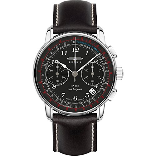 Zeppelin 7614-2 LZ126 Los Angeles Black Dial Mens Leather Watch