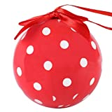 CueCuePet Christmas Ornament Variety Print Shatterproof Xmas Tree Hanging Decoration Balls Pendants for Indoor Outdoor Home Garden Holiday Party Wedding Decor (Polka Dot Red)