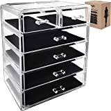 Makeup Organizer Jewelry Cosmetic Storage - Large Acrylic 6 Drawer Compartments Perfect to store your Accessories, Brushes, Lipsticks, Creams, Nail Polish, Bracelets, Watches and more By Kryllic