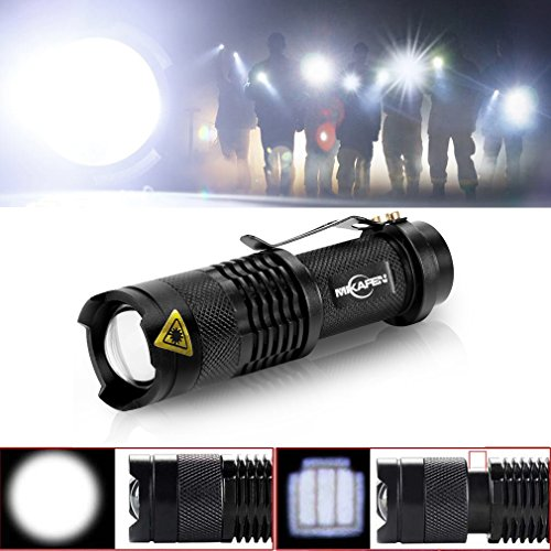 Mikafen 5 Pack Mini Cree Q5 LED Flashlight Torch 7w 300lm Adjustable Focus Zoomable Light