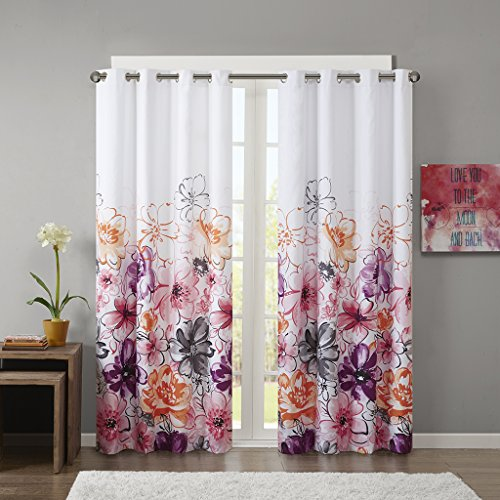 Intelligent Design Pink Blackout Curtains for Bedroom, Casual Room Darkening Window Curtains for Living Room Family Room, Olivia Floral Grommet Black Out Window Curtain, 50X84, 1-Panel Pack (Pretty Curtains Blackout)