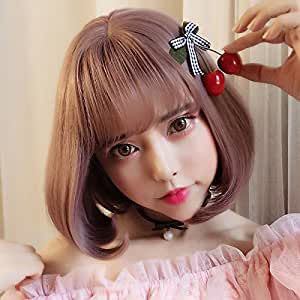 KUKI SHOP Synthetic Hair Short Straight Bob Wig Kanekalon Futura Hair Wig, Color 1