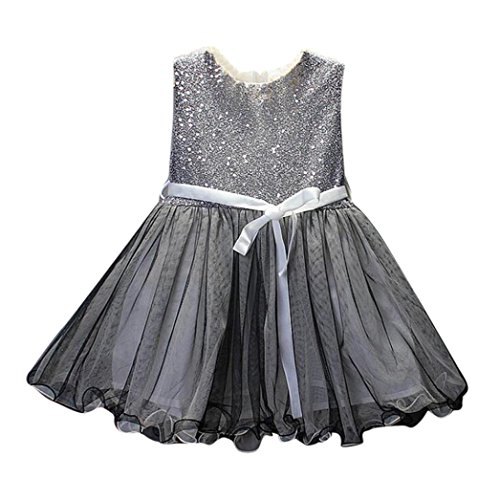 2017 Little Kid Girls' Princess Dress, Party Wedding Pageant Tulle Tutu Dresses (4T/ 4Years, Silver)