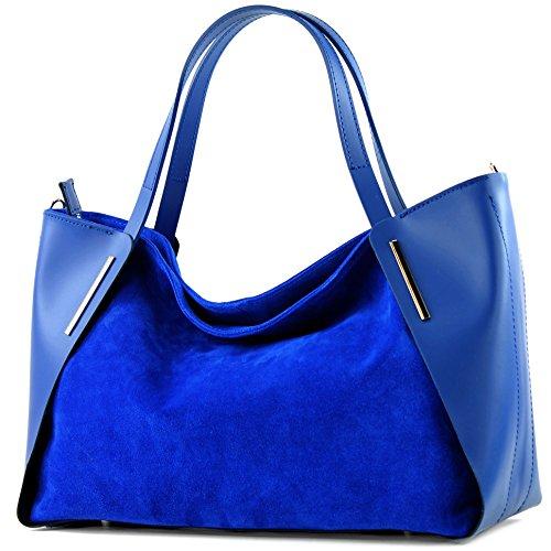 modamoda de - Made in Italy - Bolso al hombro para mujer ver descripción azul real