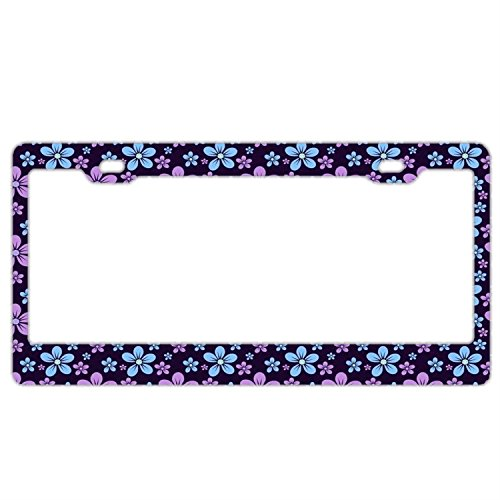 Pattern Background - Customized Personalized Stainless Steel License Plate Frame Holder, Decorative License Plate Frame Retro Flowers Pattern Navy Background