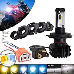 Package Included • 1x H4 LED headlight bulb • 1x H4 Female Plug • 6 Pieces fixed plates • 1 Piece fixed spring • 4 Pieces color films Fitment • Fits for Universal Motorcycle,such as: dirt bike,scooter, Honda ATC,Yamaha XSR900,2009 Ducati,Hond...