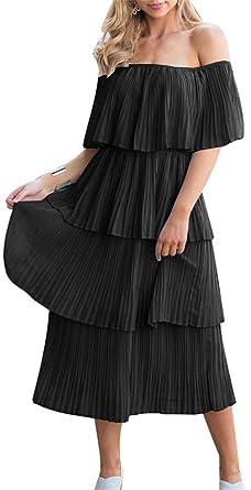 c604587209 ETCYY NEW Women's Off The Shoulder Sleeveless Tiered Ruffle Pleated Casual  Midi Dress Black