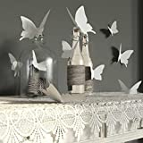 Mother's Day Gifts-Valentoria® 12Pcs Pink 3D Decorative Butterflies Removable Wall Art Sticker For Home Decor Wedding Party Decoration(White)