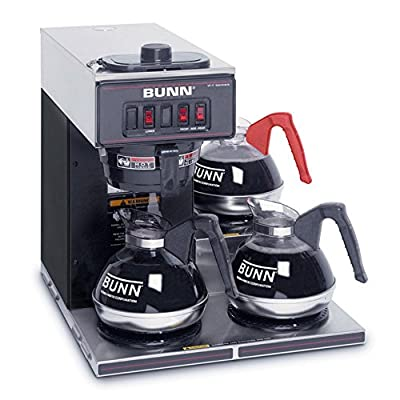 BUNN VP17-3 SS Pourover Commercial Coffee Brewer with Three Lower Warmers - Stainless Steel