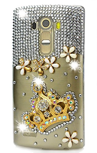 LG K10 Case, STENES Luxurious Crystal 3D Handmade Sparkle Diamond Rhinestone Clear Cover with Retro Bowknot Anti Dust Plug – Big Crown Flowers / Clear
