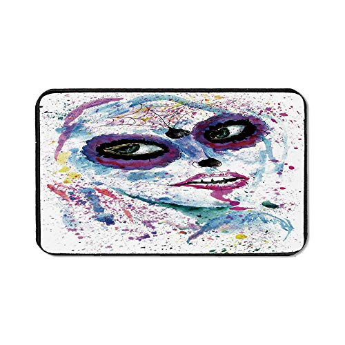 (Girls Natural Rubber Pad,Grunge Halloween Lady with Sugar Skull Make Up Creepy Dead Face Gothic Woman Artsy for Office &Hone)