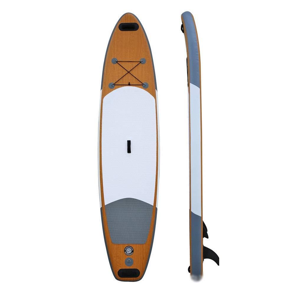 インフレータブル スタンドアップパドルボード 膨脹可能なSUP板万能は木製色の反スリップマットが付いているかい板を立てます マリンスポーツ アウトドア 海 夏 セット (色 : Wood, サイズ : 335x81x15cm) Wood 335x81x15cm