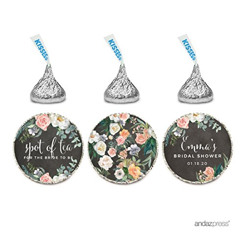 Andaz Press Peach Chalkboard Floral Garden Party Wedding Collection, Personalized Chocolate Drop Label Stickers Trio, 216-Pack, Custom Name, Fits Hershey's Kisses Party (Garden Personalized Chocolate)