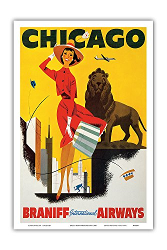 Chicago the Windy City - Braniff International Airways - Vintage Airline Travel Poster c.1950s - Master Art Print - 12in x -