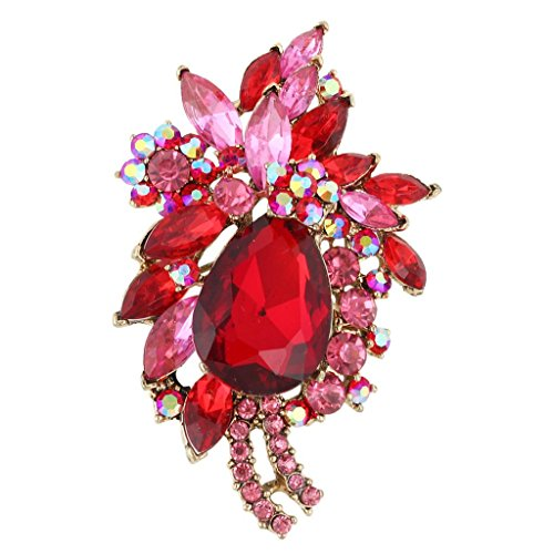 Ruby Brooch Pendant - EVER FAITH Women's Rhinestone Crystal Vintage Style Flower Teardrop Brooch Pendant Ruby Color Gold-Tone