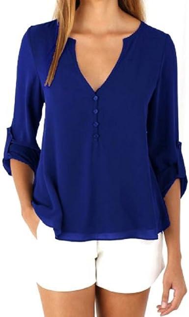 GillBerry Mujer Chicas 1PC Suelto Sencillo Gasa Manga Larga Camisa de la Blusa Tops