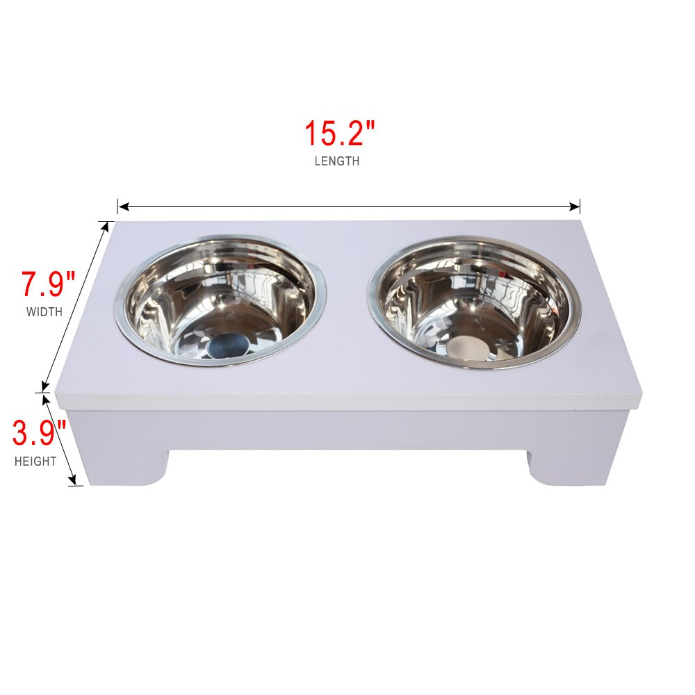 BINGPET Elevated Dog Bowls Raised Pet Feeder with Double Stainless Steel Dishes for Food and Water 15.2'' X 8''X 4'' by BINGPET (Image #2)