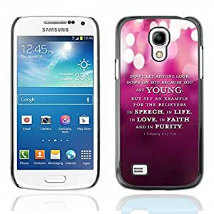 YOYO Slim PC / Aluminium Case Cover Armor Shell Portection //1 Timothy 4:12 ESV YOUNG SPEECH LIFE FAITH PURITY //Samsung Galaxy S4 Mini