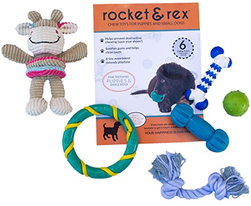 rocket & rex Puppy, Small Dog Breed Chew Toys. Soothes Gums and Teething Pain, Cleans Teeth, Lessens Destructive Chewing and Anxiety. Durable, Premium, Healthy, All-Natural Rubber or Cotton. 6-Pack.