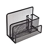 VANRA Small Letter Sorter Pen Holder Desktop File Organizer Metal Mesh Supply Caddy with 3 Mail Sorter Slot 1 Pencil Cup (Black)