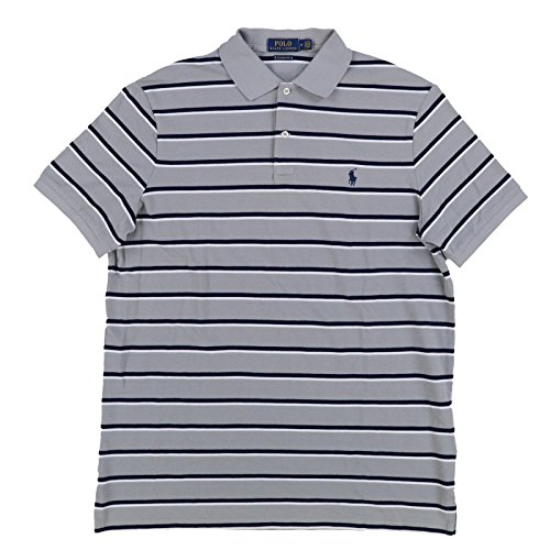Polo Ralph Lauren Mens Classic Fit Pony Logo Striped Polo Shirt (S, GreyBlk) Classic Fit Striped Rugby
