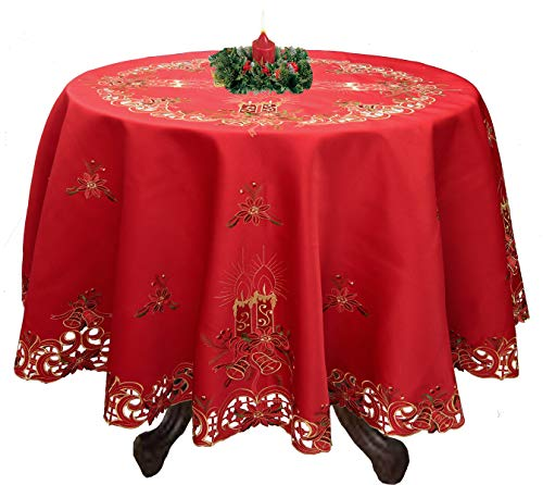 Creative Linens Holiday Christmas Embroidered Poinsettia Candle Bell Tablecloth 68