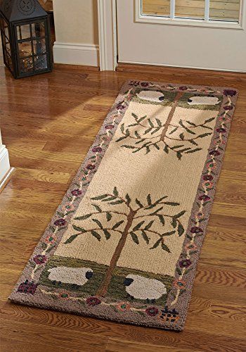 Park Designs Willow and Sheep Hooked Rug Runner 24X72 24 x 72