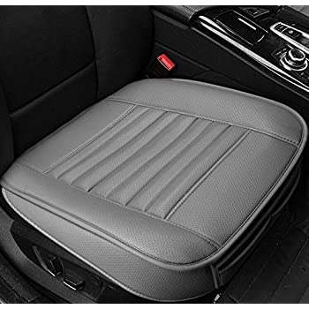 EDEALYN New Car cover interior bamboo charcoal PU Leather Car seat cover seat cushion for Car ,Single seat without backrest 1pcs (Gray)