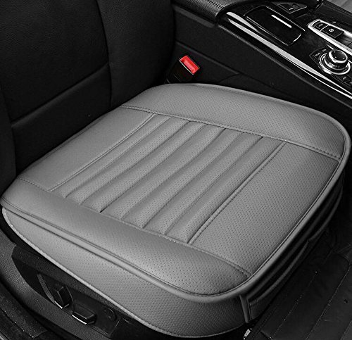 EDEALYN New Car cover interior bamboo charcoal PU Leather Soft Car seat cover seat cushion for Car ,Single seat without backrest 1pcs (Gray) (Bamboo Leather Chair)