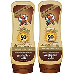 Australian Gold Broad Spectrum Moisture Max Sunscreen Lotion with Kona Bronzers, 8 Ounce (Pack of 2)