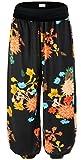 KorMei Women's Floral Print Elastic Waist Casual Harem Pants X-Large Black&Orange