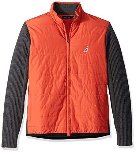 Zip Front Mock Neck Sweater - Nautica Men's Long Sleeve Full Zip Front Mock Neck Sweater, Orange Poppy, Large