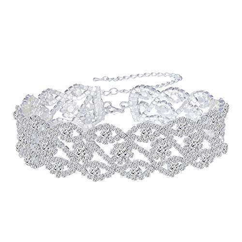(Paxuan Luxury Womens Clear Rhinestone Crystal Silver Choker Necklace Wide Collar Necklace Adjustable (Silver Plated White Crystal))