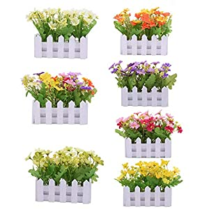 nanlai Artificial Flower Fake Rose in Picket Fence Pot Pack Louis Garden Small Plant 120