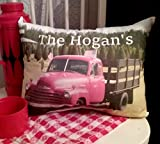 Handmade Personalized Vintage Farm Truck Country Farmhouse Pillow