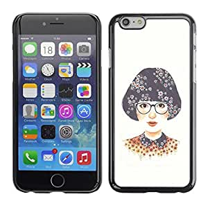 FECELL CITY // Duro Aluminio Pegatina PC Caso decorativo Funda Carcasa de Protección para Apple Iphone 6 // Girl Glasses White Nerd