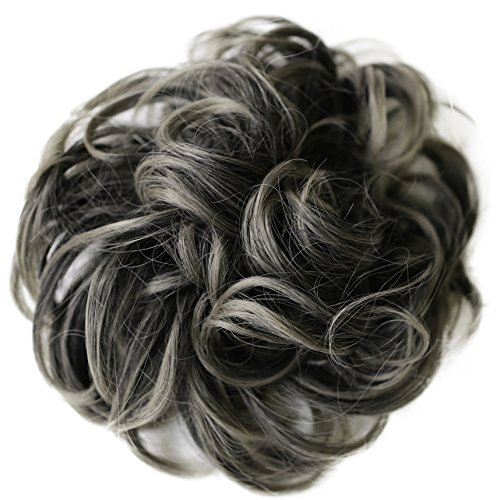 (PRETTYSHOP Hairpiece Hair Rubber Scrunchie Scrunchy Updos VOLUMINOUS Curly Messy Bun ash gray mix # 1T171 G26E)