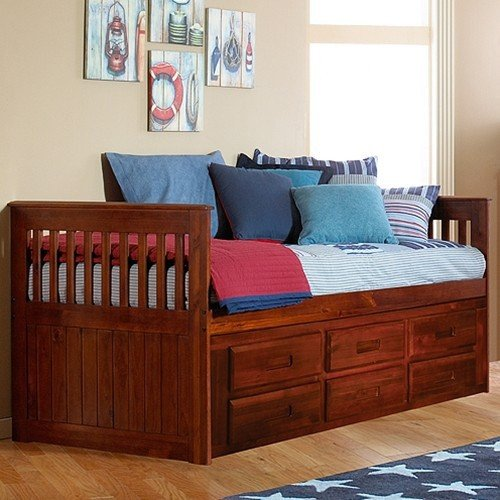 discovery world furniture rake bed with 6 drawers twin merlot