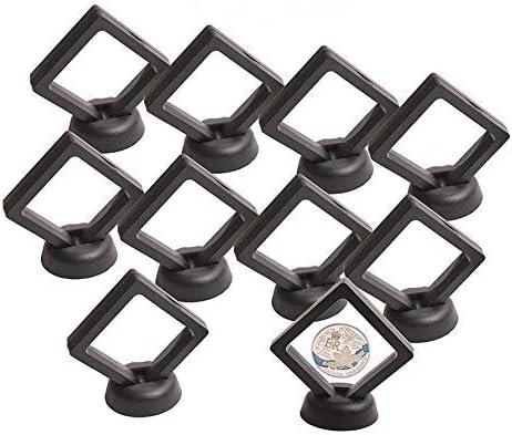 10 unidades ALONGB Expositor de monedas flotante 3D con soporte para monedas Challenge negro 2,75 x 2,75 x 0,75 pulgadas