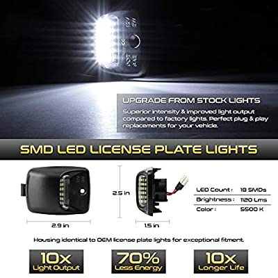 VIPMOTOZ Full LED License Plate Light Lamp Assembly Replacement For 2005-2015 Toyota Tacoma & 2000-2013 Tundra Pickup Truck, 6000K Diamond White, 2-Pieces: Automotive