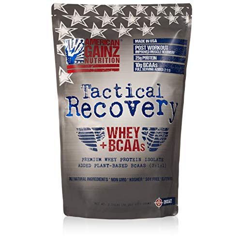 American Whey Protein - Tactical Recovery (New Formula - Protein 100% USA │ #1 Premium Whey Protein Isolate from Idaho Farms│ 5 Grams Added Plant Based BCAAs (2:1:1) │Organic Cocoa,100% Natural, Soy Free│Grass Fed Cows